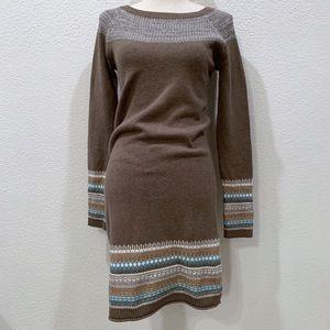 Athleta Fair Isle Sweatshirt Dress XS Brown